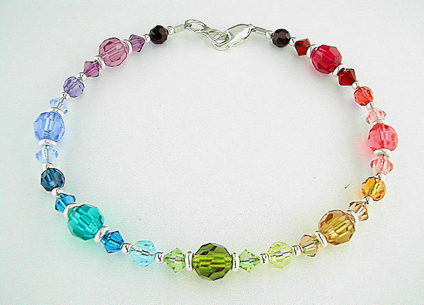 Petite to plus size rainbow bracelet in swarovski crystal for Plus size jewelry bracelets