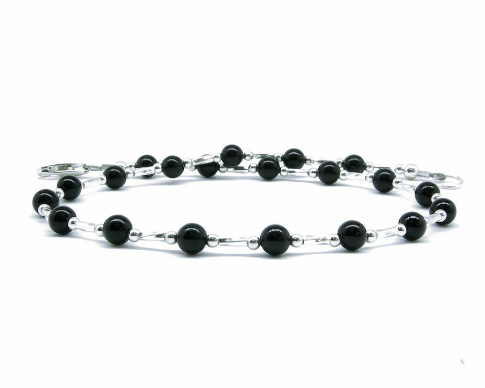 Black onyx anklet or bracelet with sterling silver spacers for Plus size jewelry bracelets