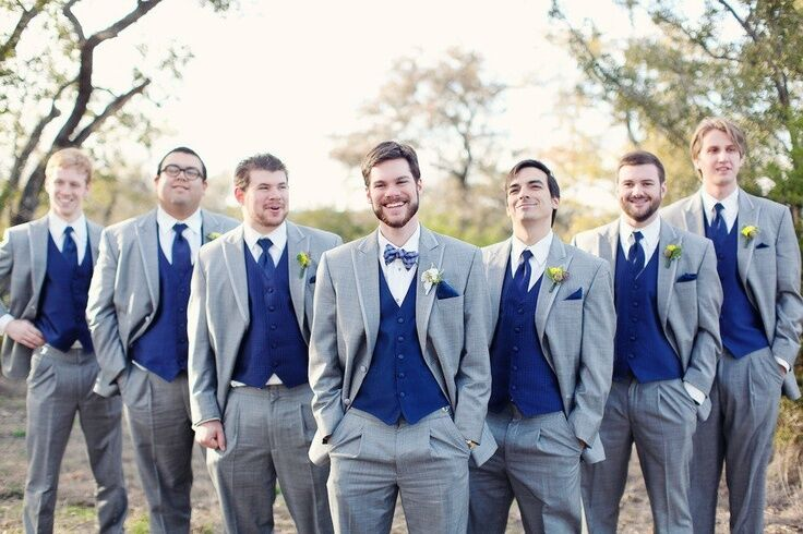 Hot Light Grey Wedding Men Suits Royal Blue Vest Groomsmen