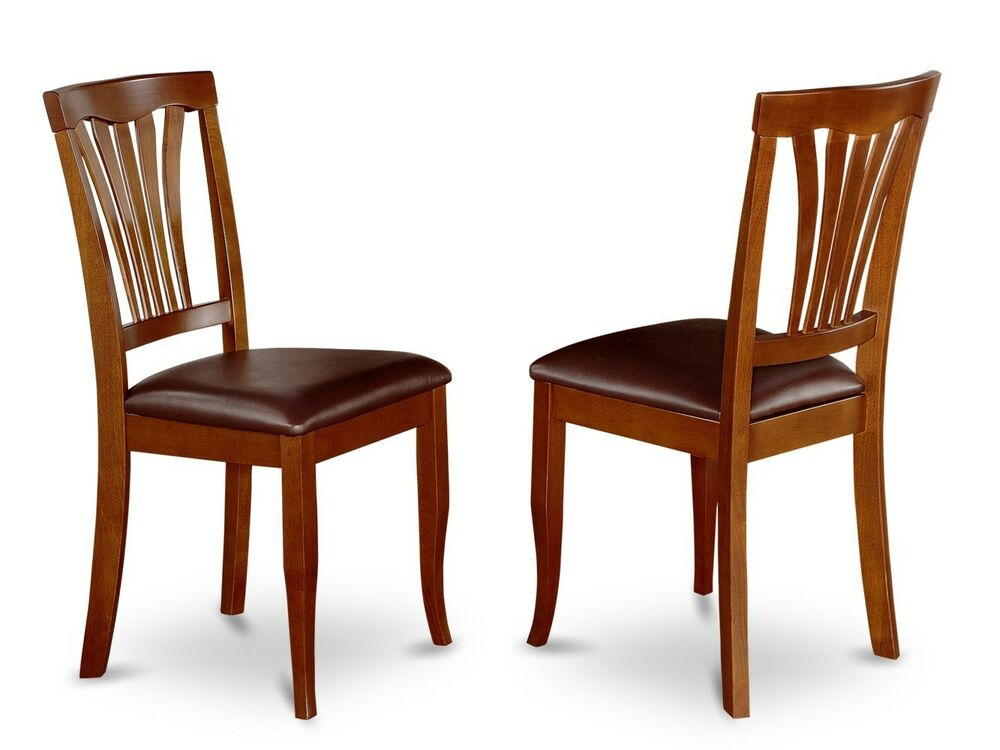kitchen dining chairs w faux leather seat in cherry brown ebay