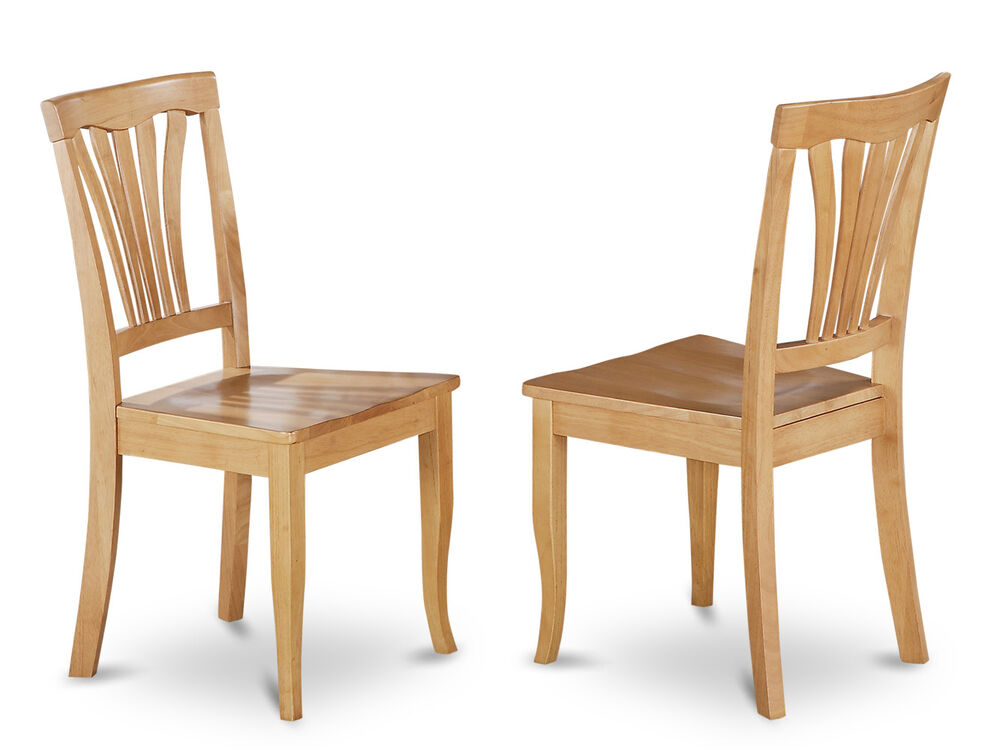 Set of 2 avon dinette kitchen dining chairs with plain for Oak dining room chairs