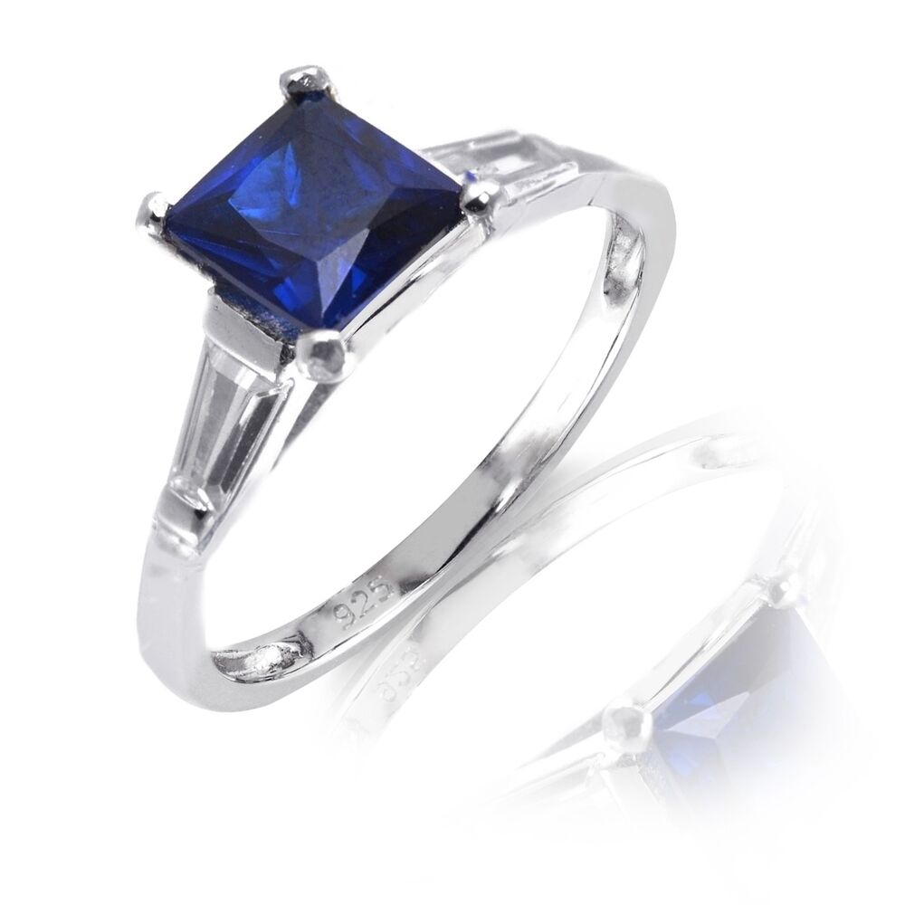 white gold finish princess cut blue sapphire engagement. Black Bedroom Furniture Sets. Home Design Ideas
