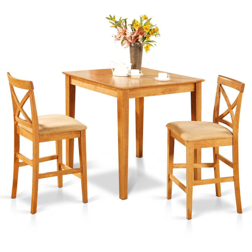 3 Pcs Modern Counter Height Dining Set Table And 2 Chairs: 3pc Counter Height Pub Set 36x36 Table + 2 Bar Stool