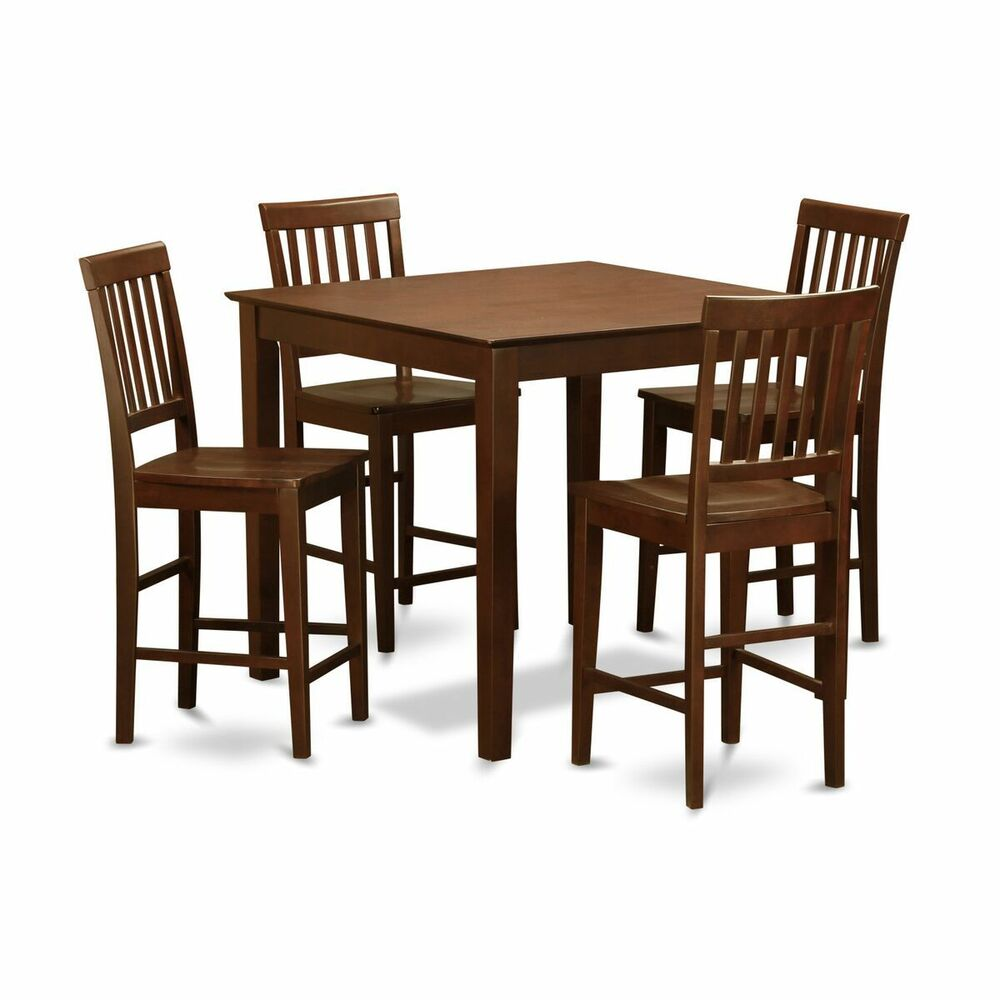 Counter Tables And Stools: 5pc Counter Height Pub Set Table + 4 Bar Stool Nonpadded