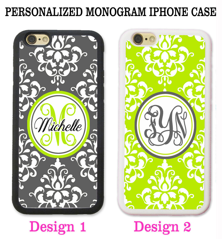 iphone 5c custom case personalized lime green grey damask monogram cover 3105