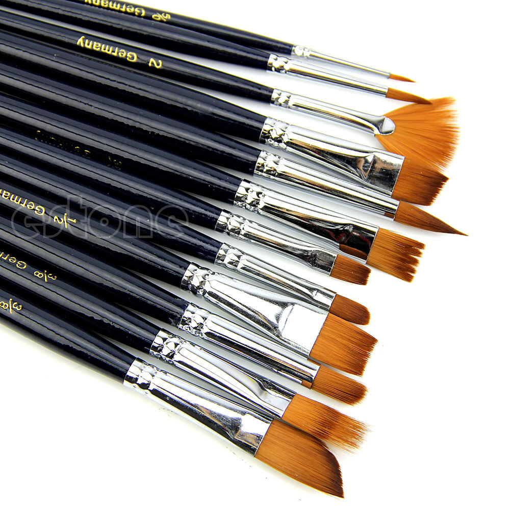 12x artist paint brush set nylon hair watercolor acrylic for Acrylic mural paint supplies