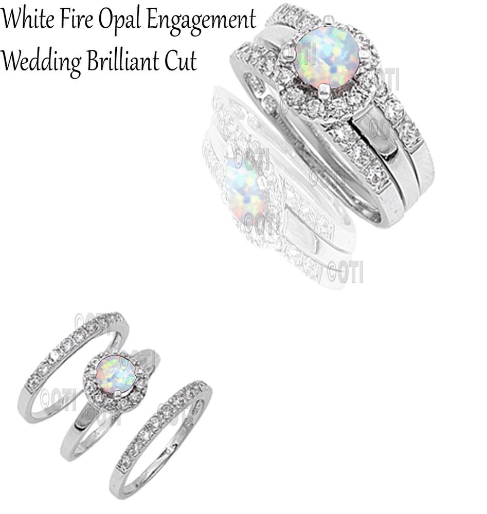 White Fire Opal Round Cut Engagement Wedding Genuine Sterling Silver Ring Set