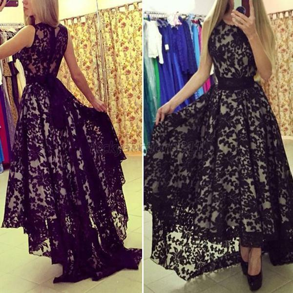 Womens Floral Lace Long Dress Cocktail Party Evening Dress