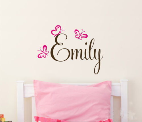 Wall stickers custom baby name butterfly new vinyl decal for Baby name decoration