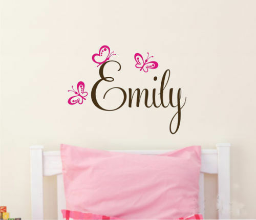 Name Wall Decals For Nursery Tags: Wall Stickers Custom Baby Name Butterfly New Vinyl Decal