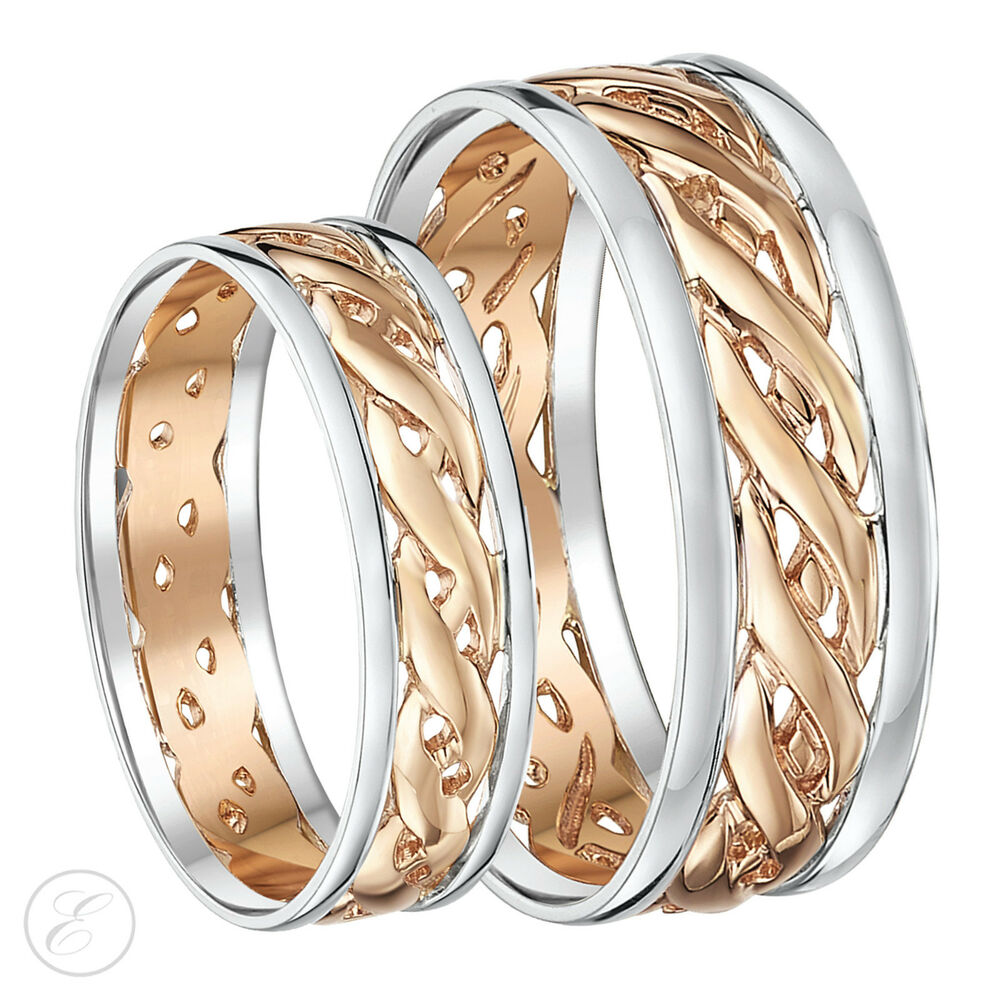 his hers 6mm 7mm 9ct gold celtic wedding ring set