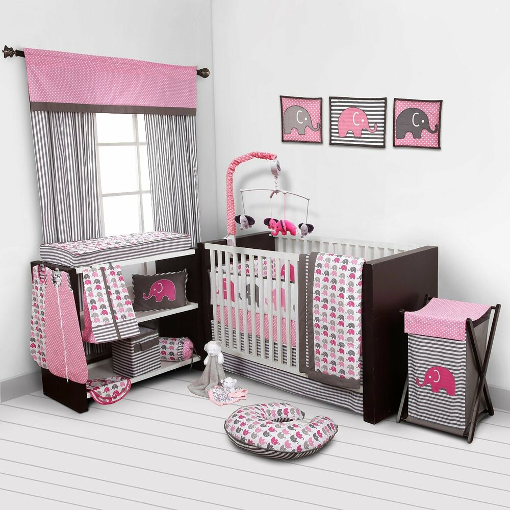 Baby girl bedroom set nursery bedding elephants pink grey for Bedding room furniture