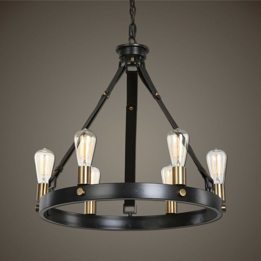 bronze ring 6 light chandelier antique industrial round ebay