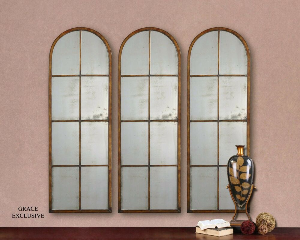 Large slim antiqued window arch mirror wall leaner horchow for Window wall mirror