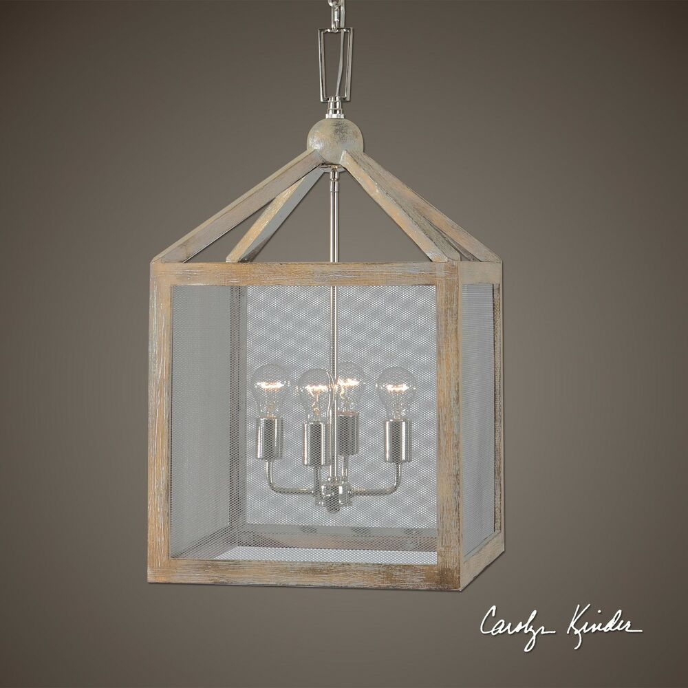 4 light cottage wood lantern pendant screen mesh coastal for Wood pendant chandelier