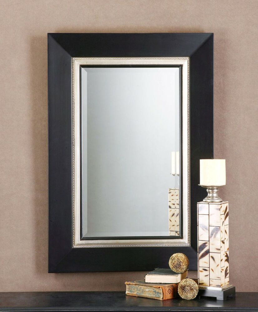 Large contemporary 40 black silver wood wall mirror ebay for Large silver modern mirror