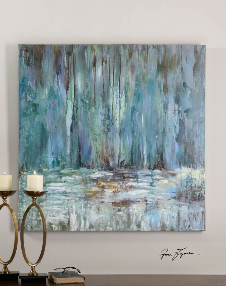 Impressionist Waterfall Oil Painting Square Blue Wall