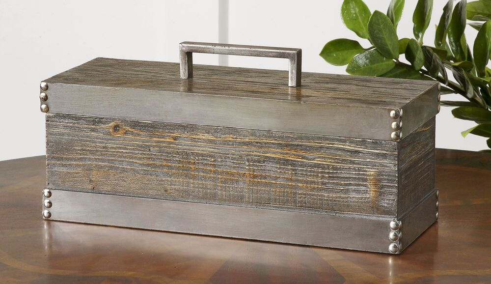 Rustic Wood Silver Metal Decorative Box Cottage
