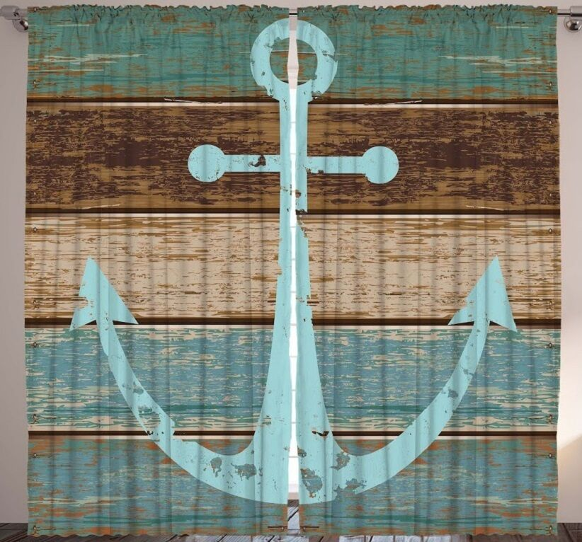 Cartoon Sailing Ship Design Shading Curtain Blackout: Rustic Anchor CURTAIN PANEL SET Nautical Wood Plank Boat