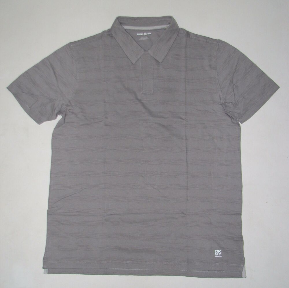 Nwt mens dkny short sleeve gray no buttons polo shirt size for No button polo shirts