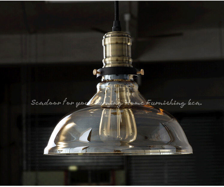 Vintage Industrial Glass Ceiling Pendant Chandelier Light: NEW Vintage Industrial RETRO Clear GLASS SHADE CEILING
