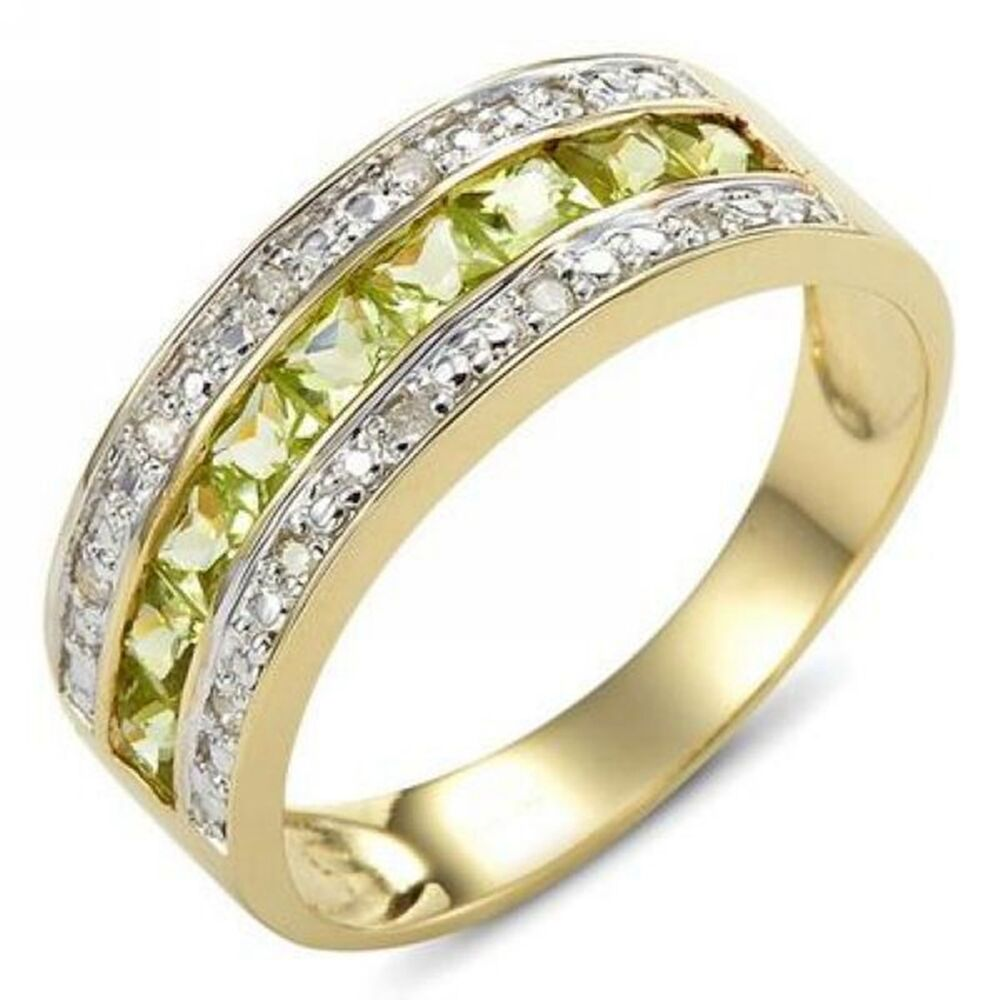 Size 6 7 8 9 10 Expensive Woman Man Peridot 18K Gold Filled Engagement Ring G