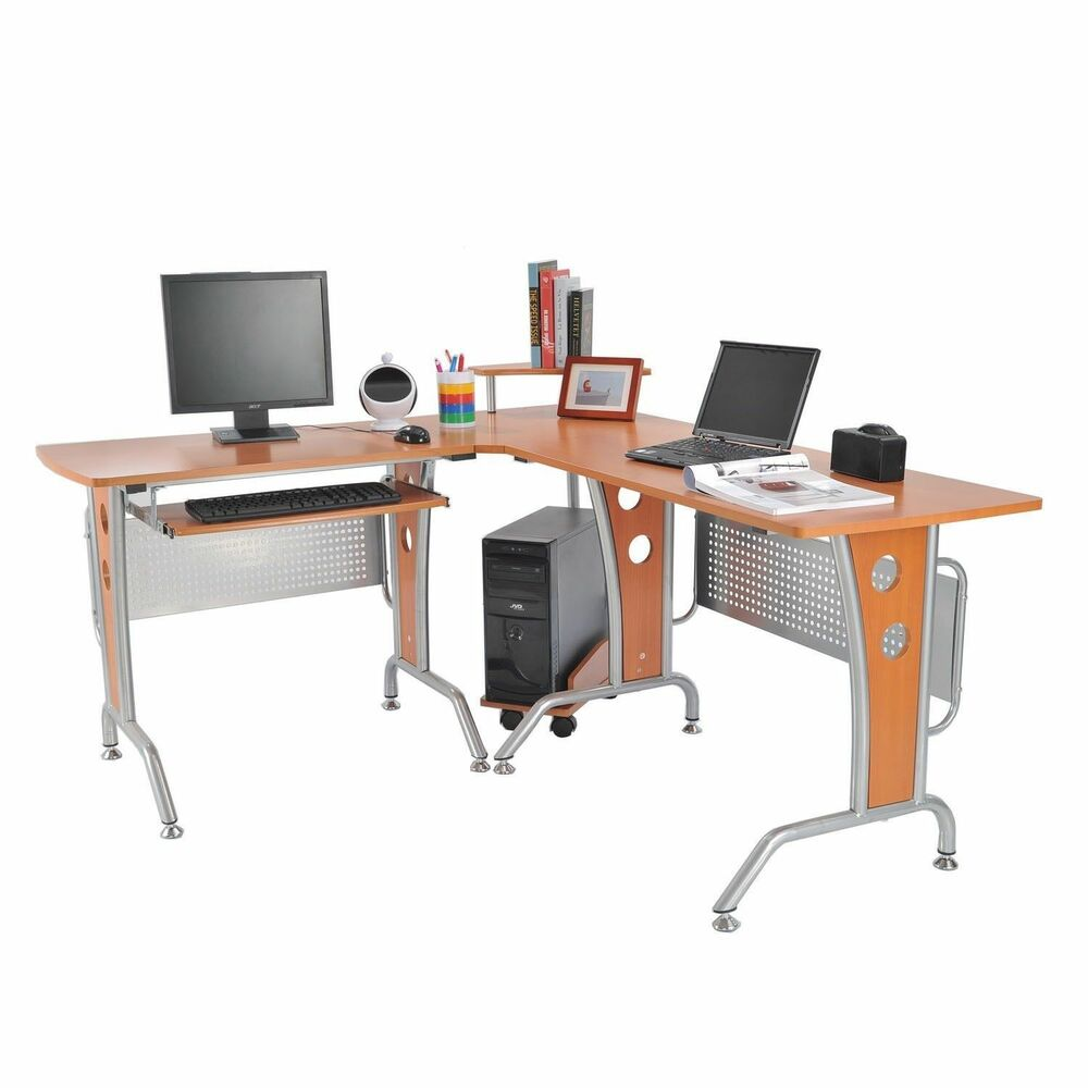 Homcom l shaped computer workstation corner desk cpu stand for Home office workstation desk