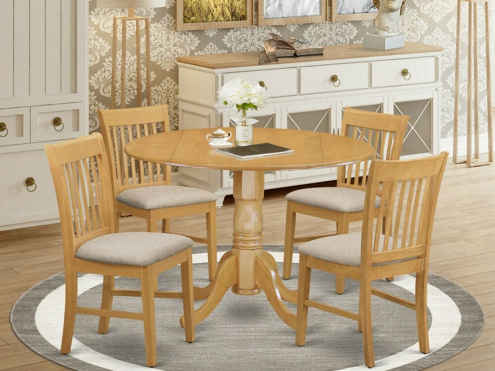 5pc dublin 42 round dinette kitchen pedestal table 4 for Dinette furniture