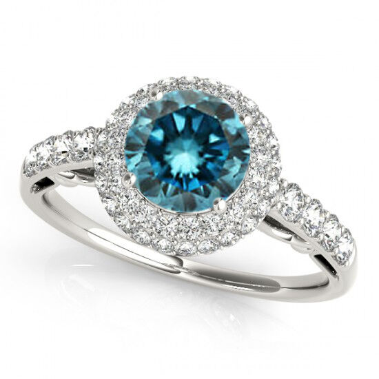 1 07 Ct Beautiful Blue Diamond Pretty Engagement Ring Elegant & Affordabl