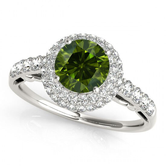 1 Carat Green Diamond Engagement Ring Best Price 14k White Gold Sparkling Col