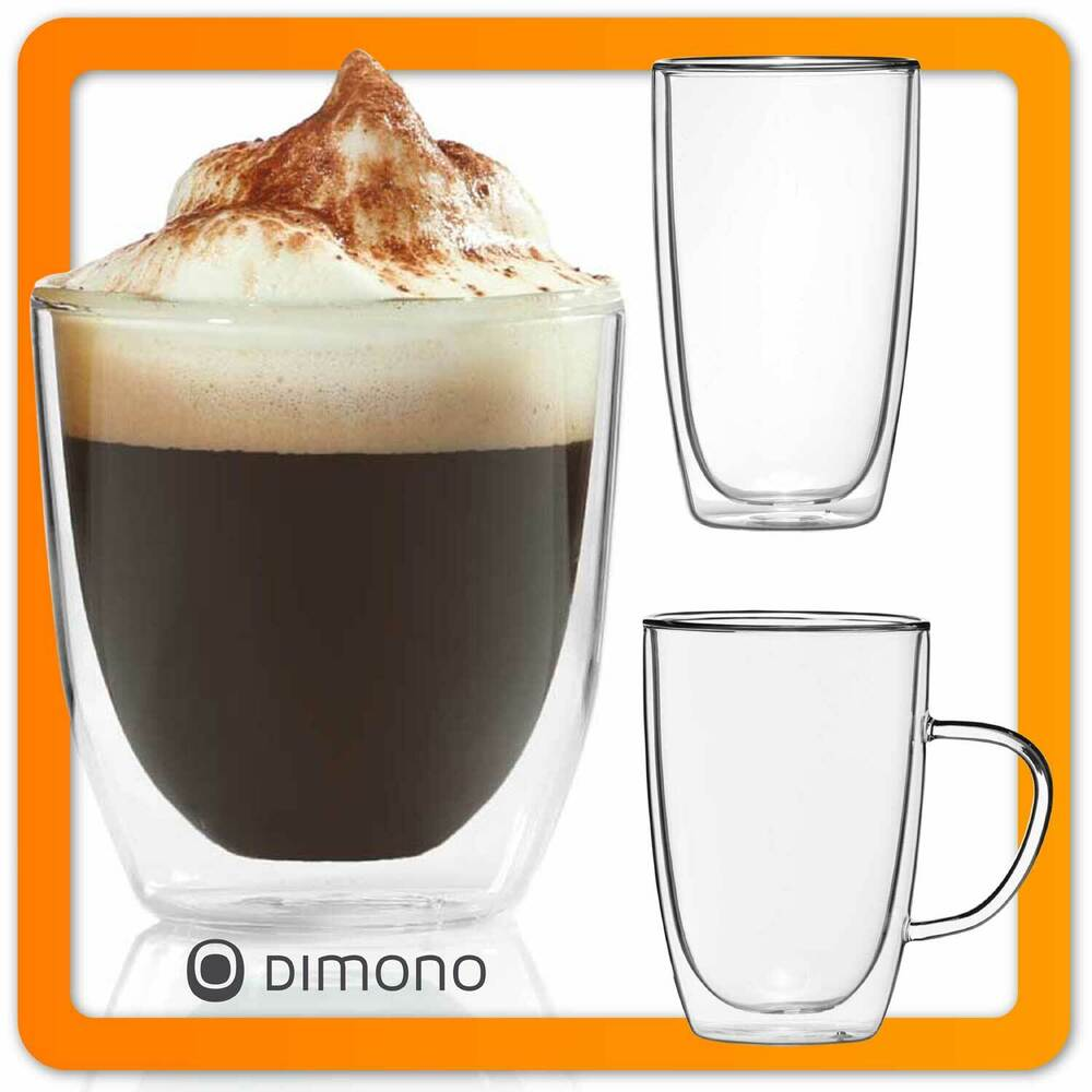 doppelwandige espressotasse espresso tasse tassen aus glas doppelwandig dimono ebay. Black Bedroom Furniture Sets. Home Design Ideas