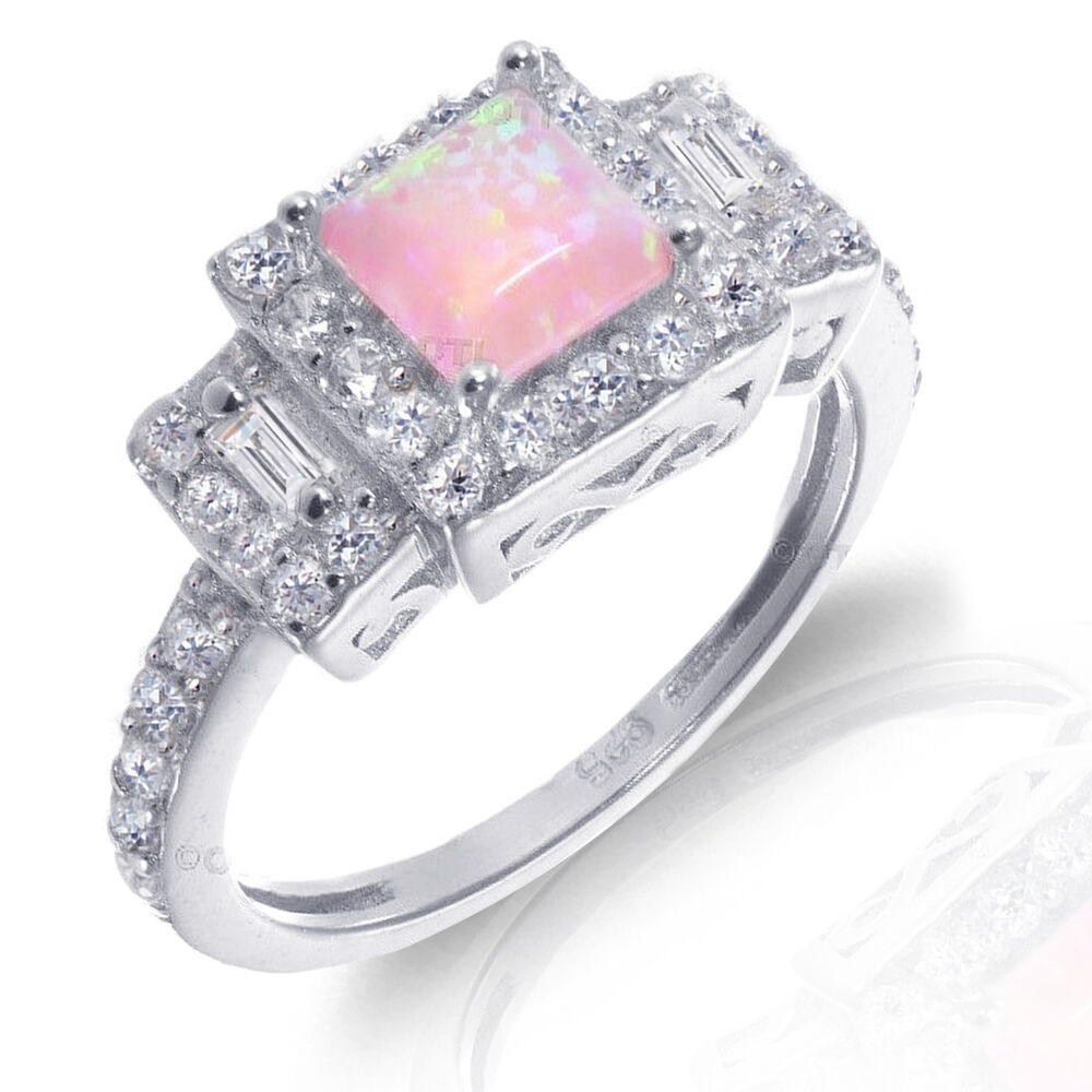 white gold princess cut promise engagement pink fire opal. Black Bedroom Furniture Sets. Home Design Ideas