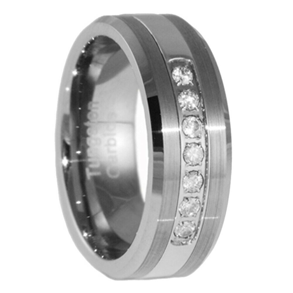 8mm tungsten carbide wedding band cz bridal men jewelry ring size 5 15 ebay. Black Bedroom Furniture Sets. Home Design Ideas