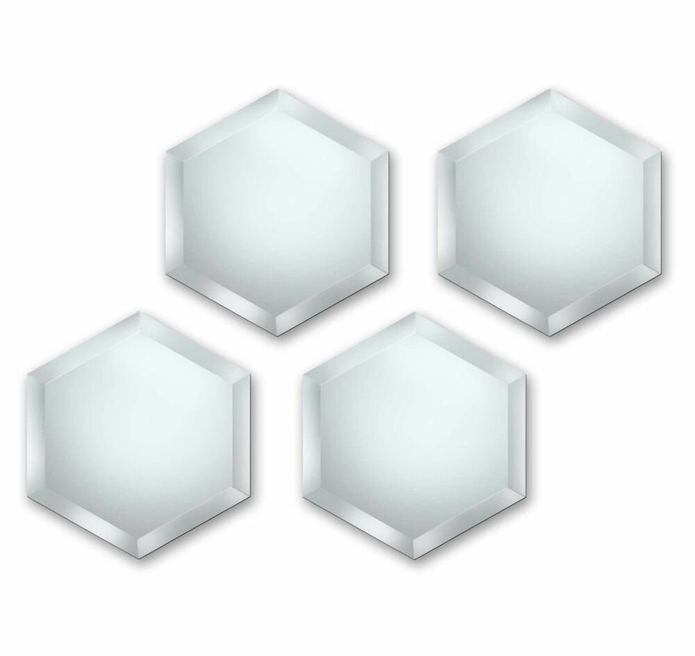 Set Of 4 Hexagon Bevelled Mosaic Glass Self Adhesive Wall