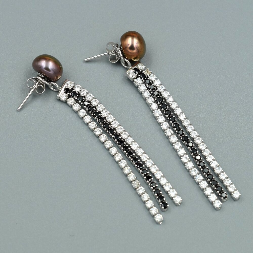 ccbf39fb5 ... Attachment For Stud Dangle Earrings: Black Pearl Freshwater CZ Sterling  Silver Drop Dangle