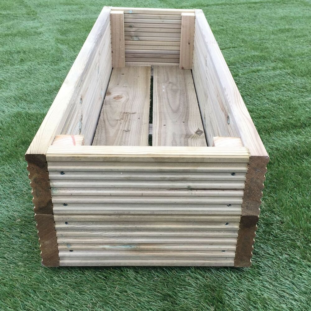 Large decking wooden garden planter 0 6m 2ft 1 2m 4ft for Decking boards 6m long
