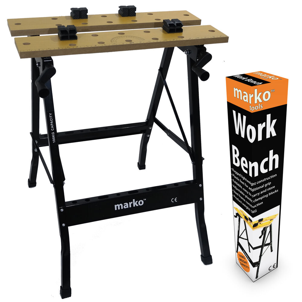 100kg heavy duty portable folding workbench wood bench for Table design tool