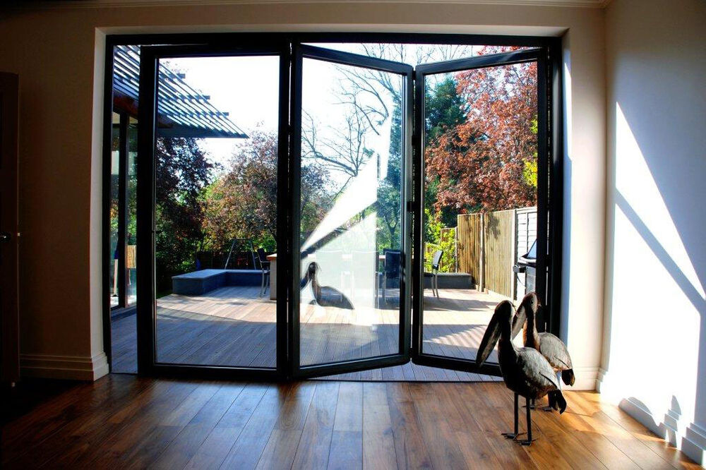 New quality aluminuim bi fold patio doors inc glass 3 for Quality patio doors
