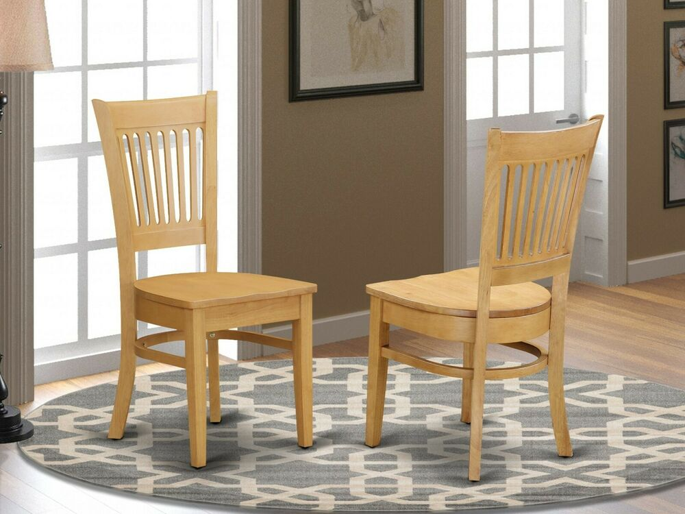 Set of 2 vancouver dinette kitchen dining chairs w plain for Oak dining chairs