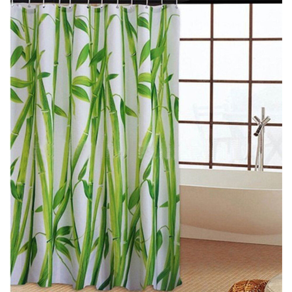 Bamboo Kitchen Curtains: Green Bamboo Natural Landscape Design Bathroom Shower