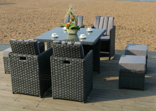 RATTAN OUTDOOR GARDEN FURNITURE PATIO CUBE 8 SEATER DINING SET Parasol Grey