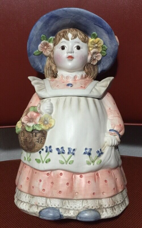 Vintage Lady Cookie Jar Pink Blue And White Glass Eyes