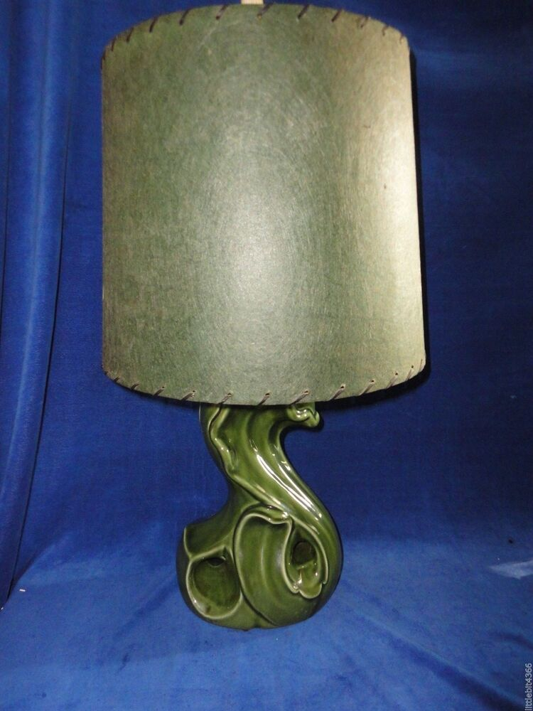 Vintage Art Pottery Table Lamp Swan Shaped Deep Green