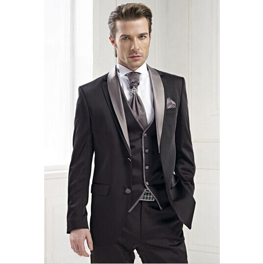 best men suits black groom tuxedo groomsmen wedding suit jacket pants tie vest ebay. Black Bedroom Furniture Sets. Home Design Ideas