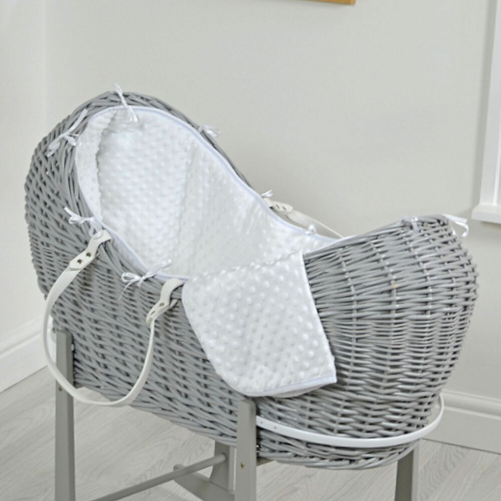 NEW 4BABY WHITE DIMPLE GREY WICKER BABY MOSES BASKET ...