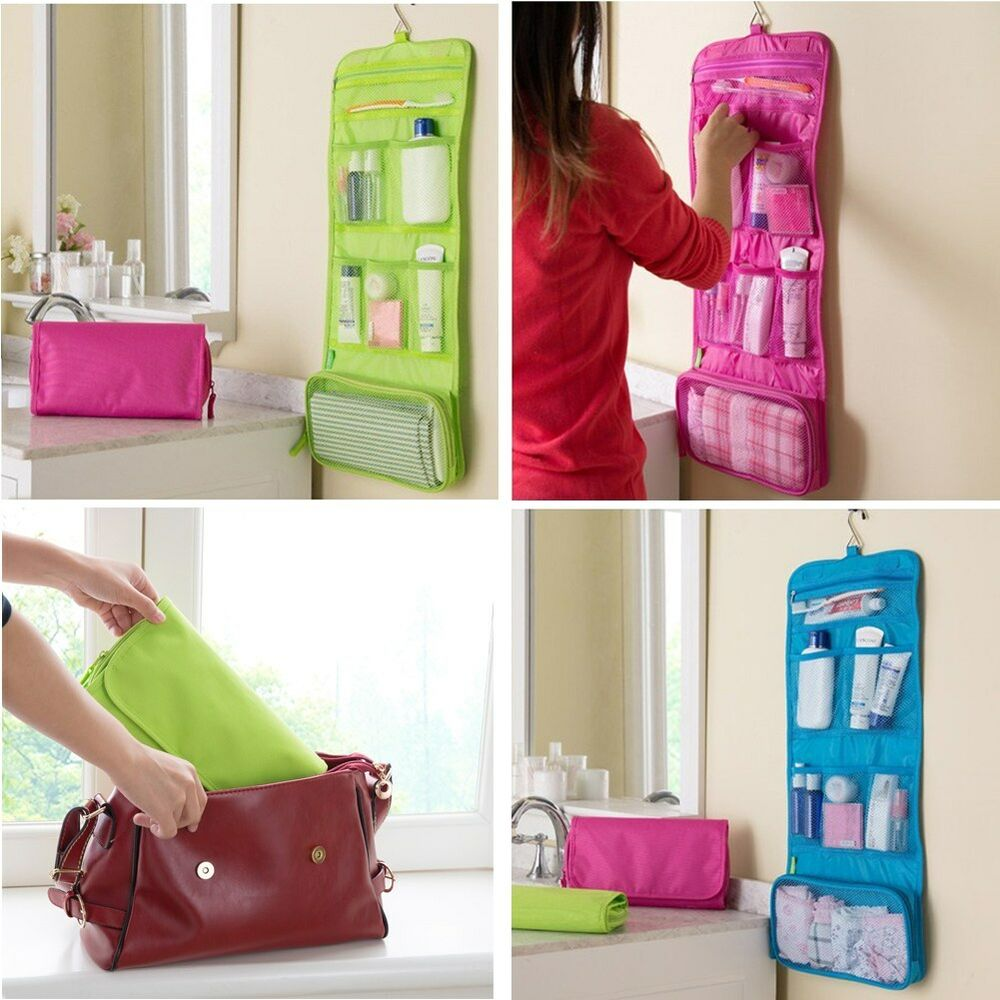 women travel toiletry hanging wash makeup cosmetic case folding organizer bags ebay. Black Bedroom Furniture Sets. Home Design Ideas