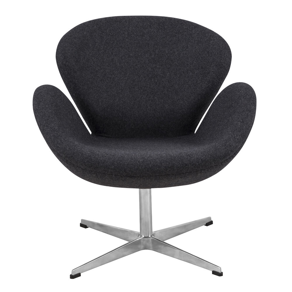 arne jacobsen swan chair in gray wool ebay. Black Bedroom Furniture Sets. Home Design Ideas
