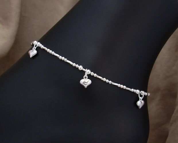 Tiny hearts charm anklet in sterling silver small to for Plus size jewelry bracelets