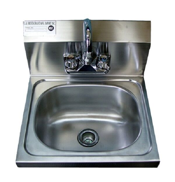 New Commercial Stainless Steel Wall Mounted Hung Hand Sink Nsf 17 X 15 X 5 Ebay
