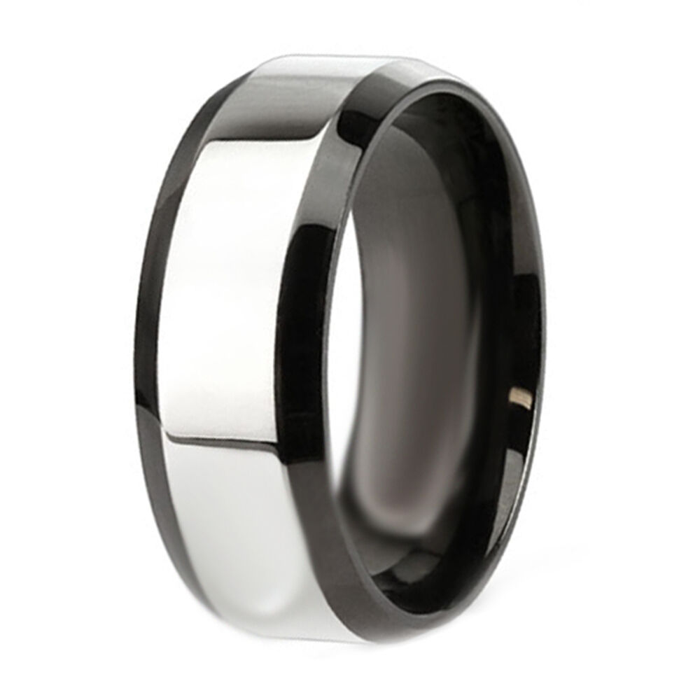 Stainless Steel Mens Wedding Band Ring 8mm: Mens Stainless Steel 8MM Two Tone Engagement Wedding